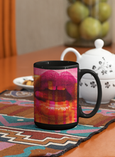 Load image into Gallery viewer, Contemporary sexy lips digital Pop Art black coffee mug.