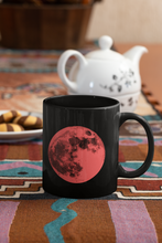 Load image into Gallery viewer, Contemporary Full Moon Pop Art black coffee mug.
