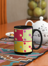Load image into Gallery viewer, Dominoes abstract digital Pop Art black coffee mug.