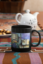 Load image into Gallery viewer, Hat and Glass Bottle abstract Pop Art black coffee mug.
