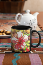 Load image into Gallery viewer, Lakeside Flowers Abstract Pop Art Black Coffee Mug.