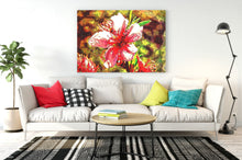 Load image into Gallery viewer, Lakeside flowers digital pop art canvas print.