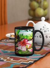 Load image into Gallery viewer, Lakeside flowers # 2 Abstract Pop Art black coffee mug.