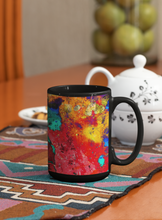 Load image into Gallery viewer, Looking For Reds digital abstract Pop Art black coffee mug.