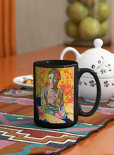 Load image into Gallery viewer, Mary Jane Adolescent Female Pop Art Black Coffee Mug.