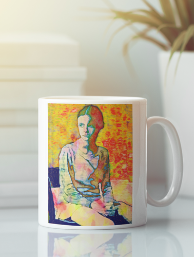 Mary Jane adolescent female pop art coffee mug.