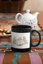 Load image into Gallery viewer, Christmas holiday black coffee mug.