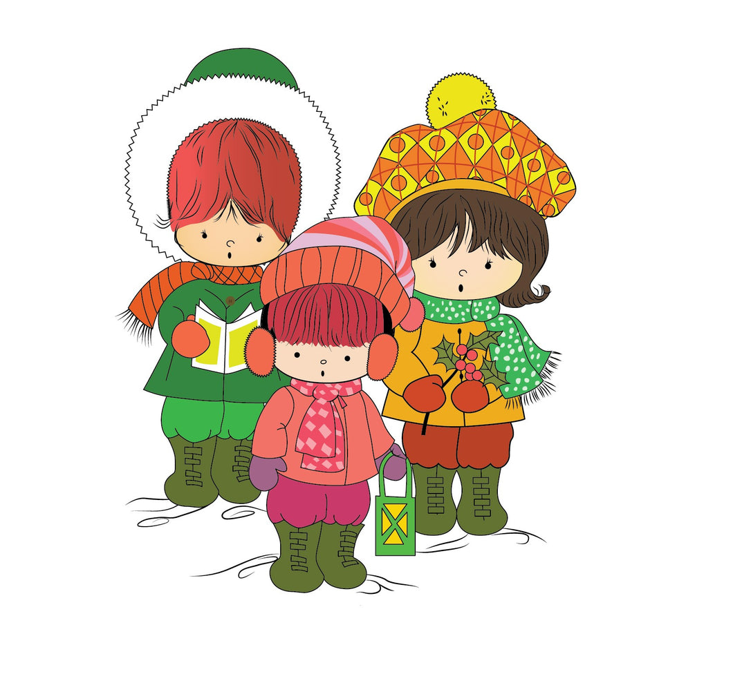Three Children Christmas Carolers Pop Art Christmas Card.
