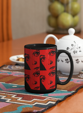Load image into Gallery viewer, Portrait of catherine deneuve pop art black coffee mug.