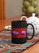 Load image into Gallery viewer, Red Tulips flowers Pop Art black coffee mug.