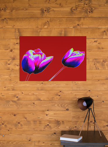 Red tulips digital flowers pop art canvas print.