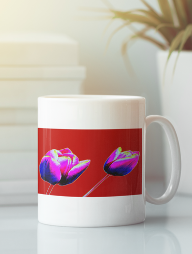 Red Tulips flowers pop art coffee mug.