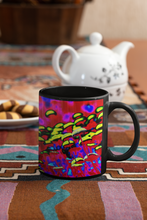 Load image into Gallery viewer, Button Flowers abstract reverie Pop Art black coffee mug.