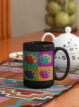 Load image into Gallery viewer, Sweet gum balls abstract Pop Art black coffee mug.