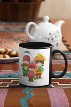 Load image into Gallery viewer, Three Children Christmas Carolers Pop Art Black Coffee Mug.