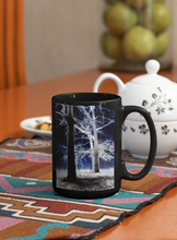 Load image into Gallery viewer, Trees in the fog abstract Pop Art black coffee mug.