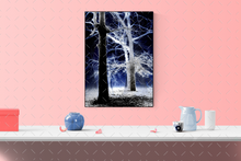 Load image into Gallery viewer, Trees in the fog abstract pop art canvas print.