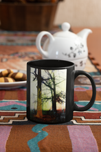 Load image into Gallery viewer, Trees In The Fog # 2 Abstract Pop Art Black Coffee Mug.