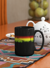 Load image into Gallery viewer, Tumbling down abstract sunset Pop Art black coffee mug.