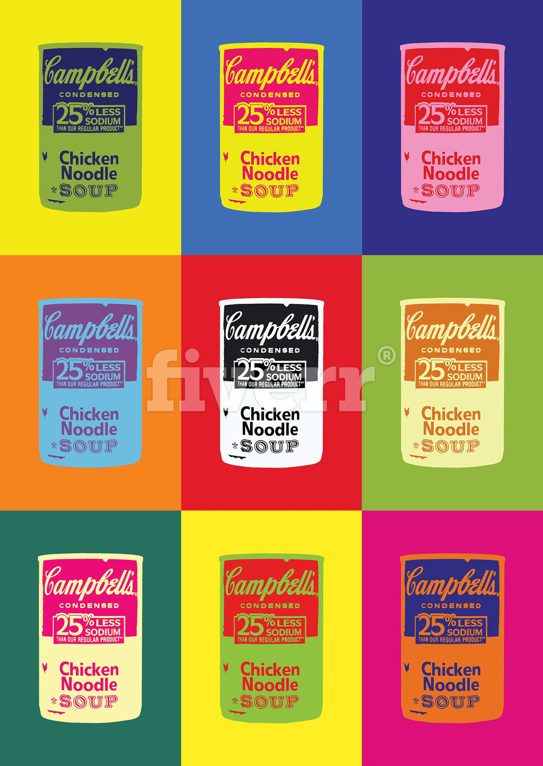 Campbell's Soup Can 6-Panel Modern Pop Art Canvas Print