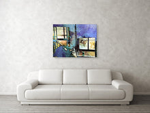 Load image into Gallery viewer, Hat and glass bottle abstract pop art canvas print.
