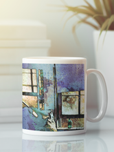 Load image into Gallery viewer, Hat and glass bottle abstract pop art coffee mug.