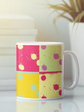 Load image into Gallery viewer, Dominoes abstract pop art coffee mug.