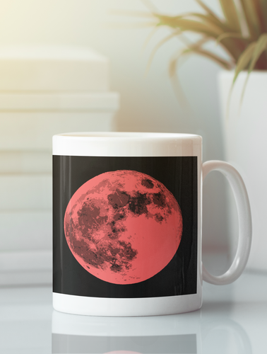 Contemporary full moon pop art coffee mug.