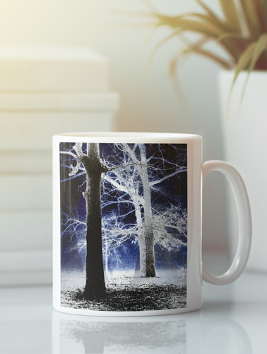 Trees in the fog abstract pop art coffee mug.