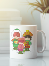 Load image into Gallery viewer, Three Children Christmas Carolers Pop Art Coffee Mug.