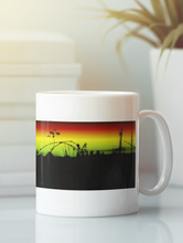 Load image into Gallery viewer, Tumbling Down abstract sunset pop art coffee mug.