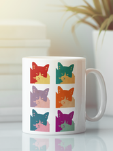 Load image into Gallery viewer, Cats today 6-panel pop art coffee mug.