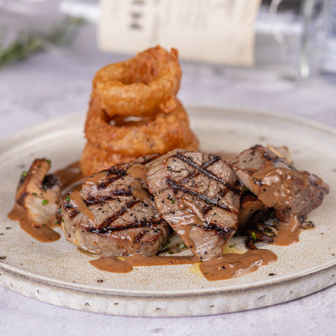 THE-SORBUS-TREE-BISTRO-DINNING-AT-HOME-AND-OUTSIDE-CATERING-RUTHIN-DENBIGHSHIRE-NORTHWALES-DELIVERY-COLLECTION-MAINS-FILLET-STEAK-DIANE-SAUCE-ONION-RINGS