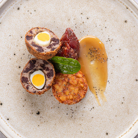 THE-SORBUS-TREE-BISTRO-DINNING-AT-HOME-AND-OUTSIDE-CATERING-RUTHIN-DENBIGHSHIRE-NORTHWALES-DELIVERY-COLLECTION-STARTERS-BLACK-PUDDING-SCOTCH-QUAILS-EGG