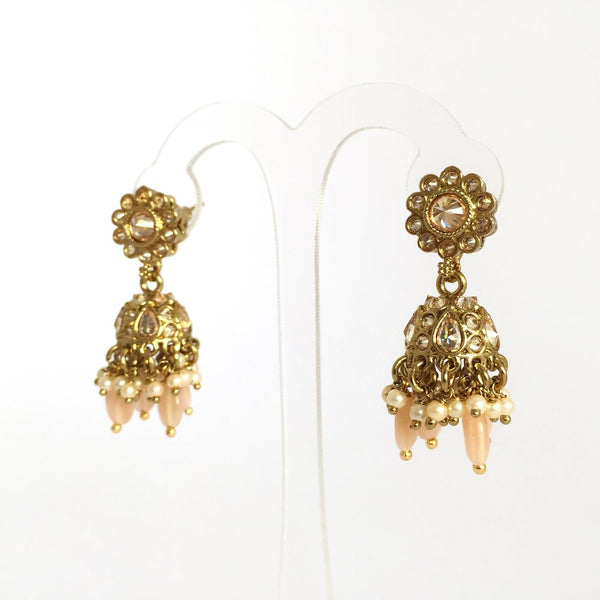 Small Daisy Jhumka Earrings in Peach
