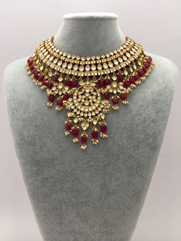 Rani Kundan Necklace With Earings