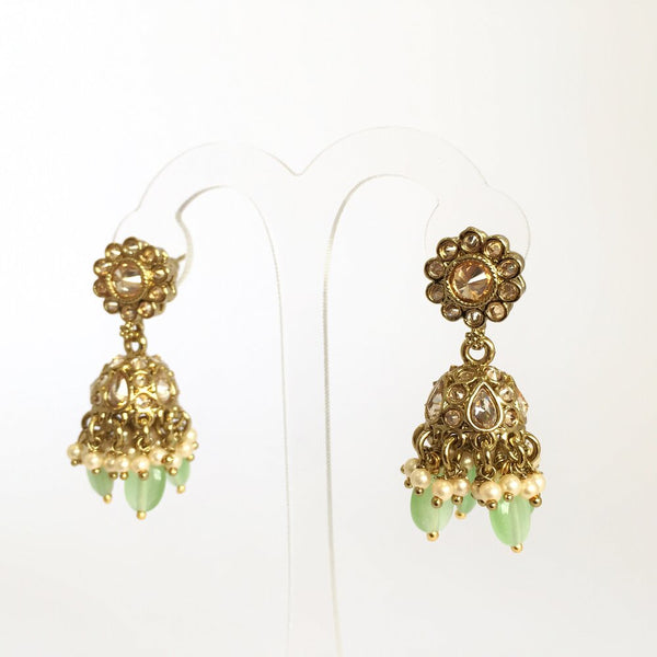 Small Daisy Jhumka Earrings in Mint