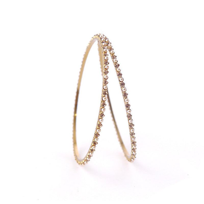 Thin Pearl and Champagne Bangles