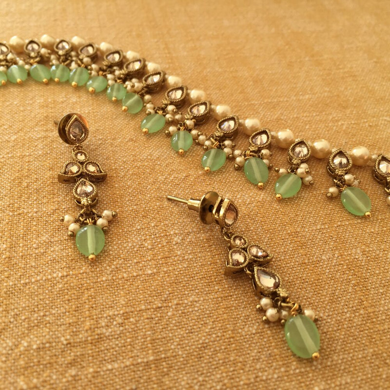 Tranquil Pearl and Mint Drop Necklace and Earrings