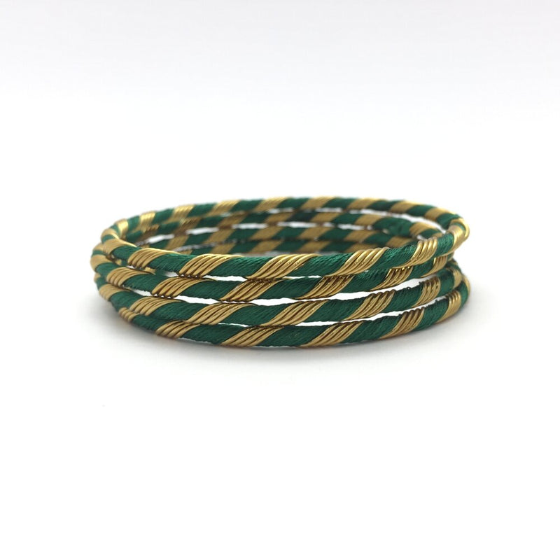 Dark Green Wired Thread Bangles