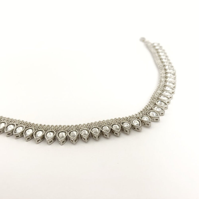 Rhodium Stone Anklet / Necklace