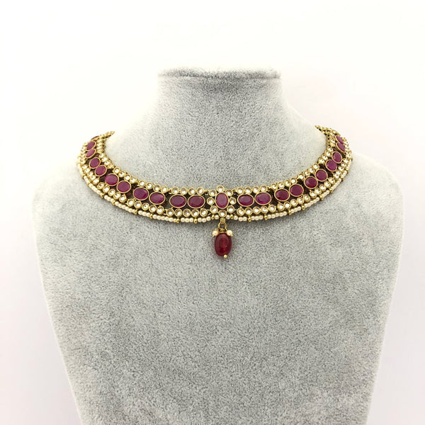 Ruby Necklace Set with Drop