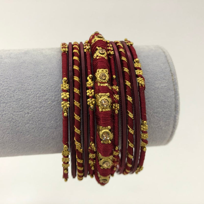 Maroon Thread Bangle Set