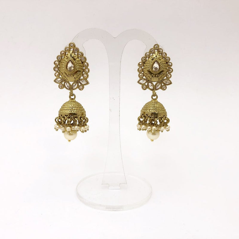 Antique Gold Pear Jhumka Earrings