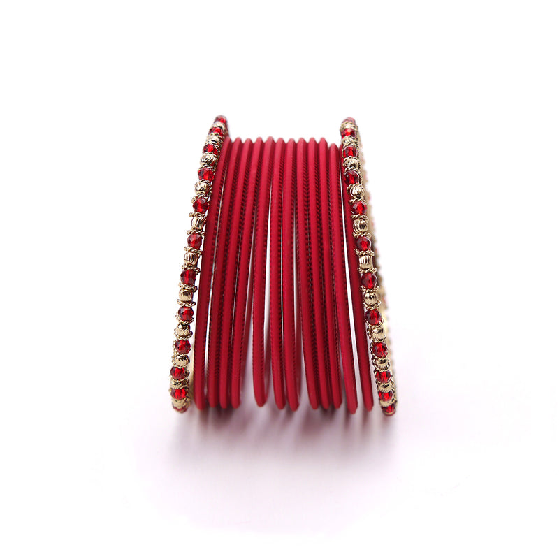 No Drama Bangle Set in Deep Red