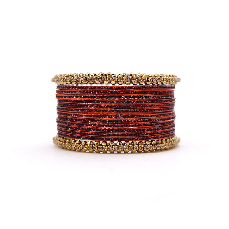 No Drama Bangle Set in Dark Red