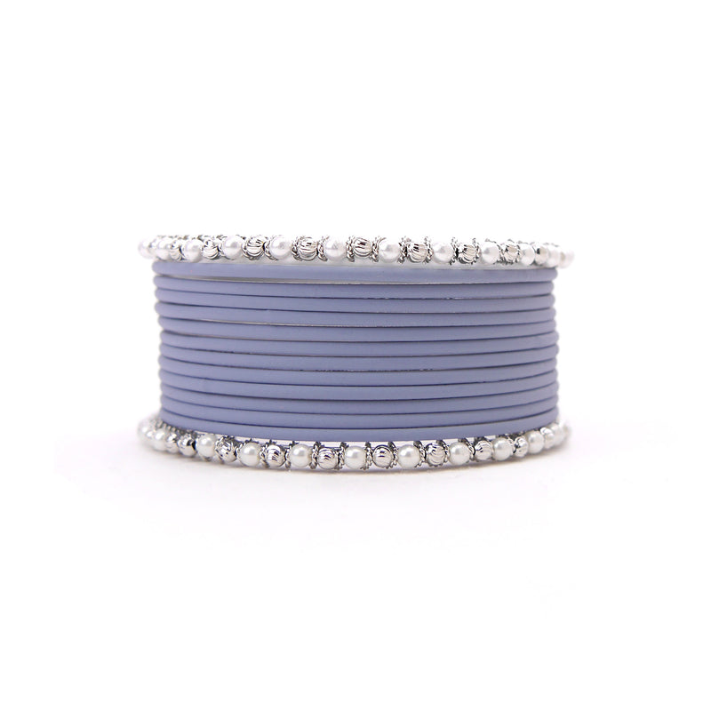 No Drama Bangle Set in Powder Grey
