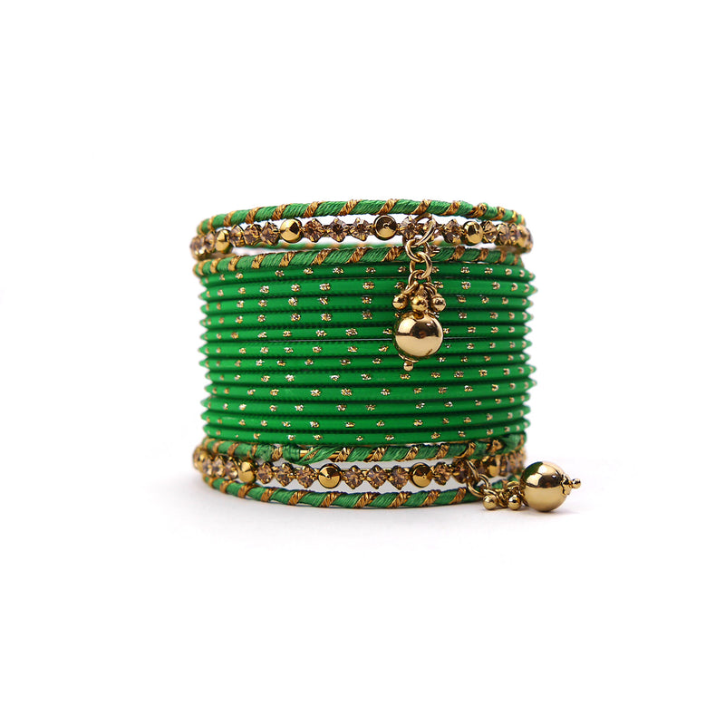 Ball Drop Bangle Set in Green