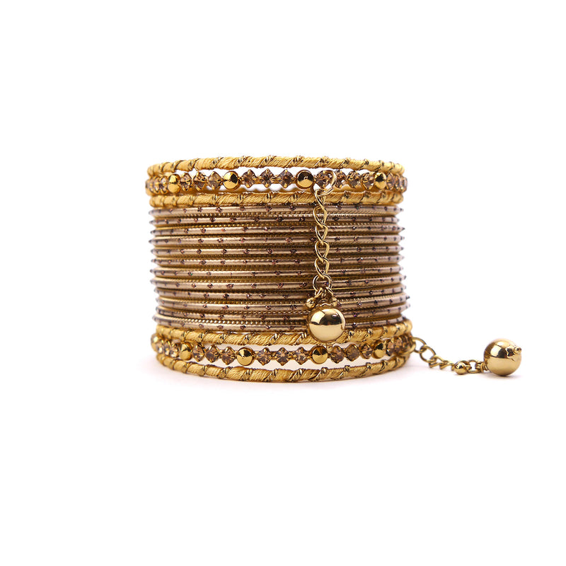 Ball Drop Bangle Set in Gold