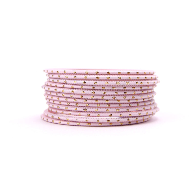 Blush Pink Gold Dot Bangles
